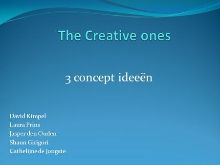 The Creative ones 3 concept ideeën David Kimpel Laura Prins