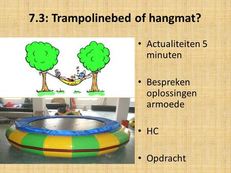 7.3: Trampolinebed of hangmat?