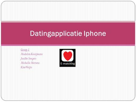 Groep 1 Madelon Kooijmans Juulke Seegers Michelle Mertens Kim Weijts Datingapplicatie Iphone.