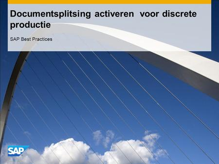 Documentsplitsing activeren voor discrete productie SAP Best Practices.