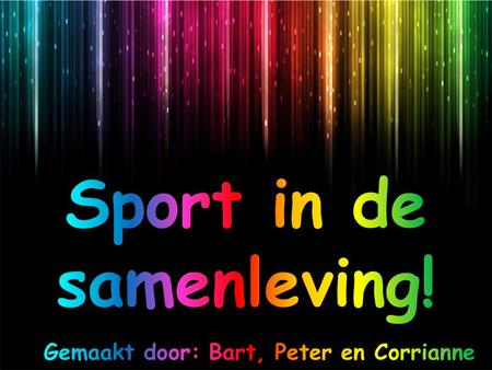 Sport in de samenleving!