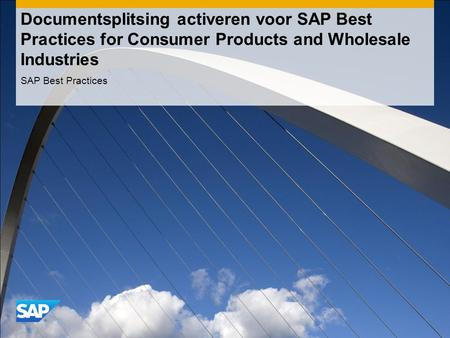 Documentsplitsing activeren voor SAP Best Practices for Consumer Products and Wholesale Industries SAP Best Practices.