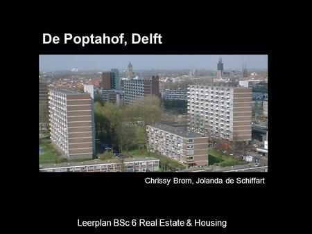 Leerplan BSc 6 Real Estate & Housing Chrissy Brom, Jolanda de Schiffart De Poptahof, Delft.