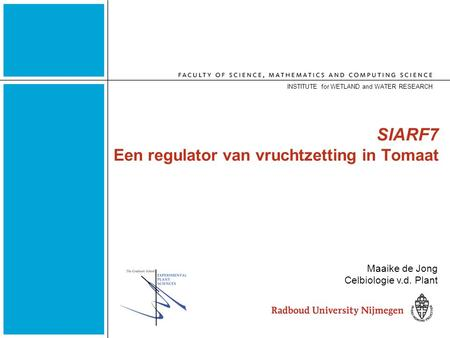 SlARF7 Een regulator van vruchtzetting in Tomaat INSTITUTE for WETLAND and WATER RESEARCH Maaike de Jong Celbiologie v.d. Plant.
