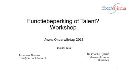 Functiebeperking of Talent? Workshop