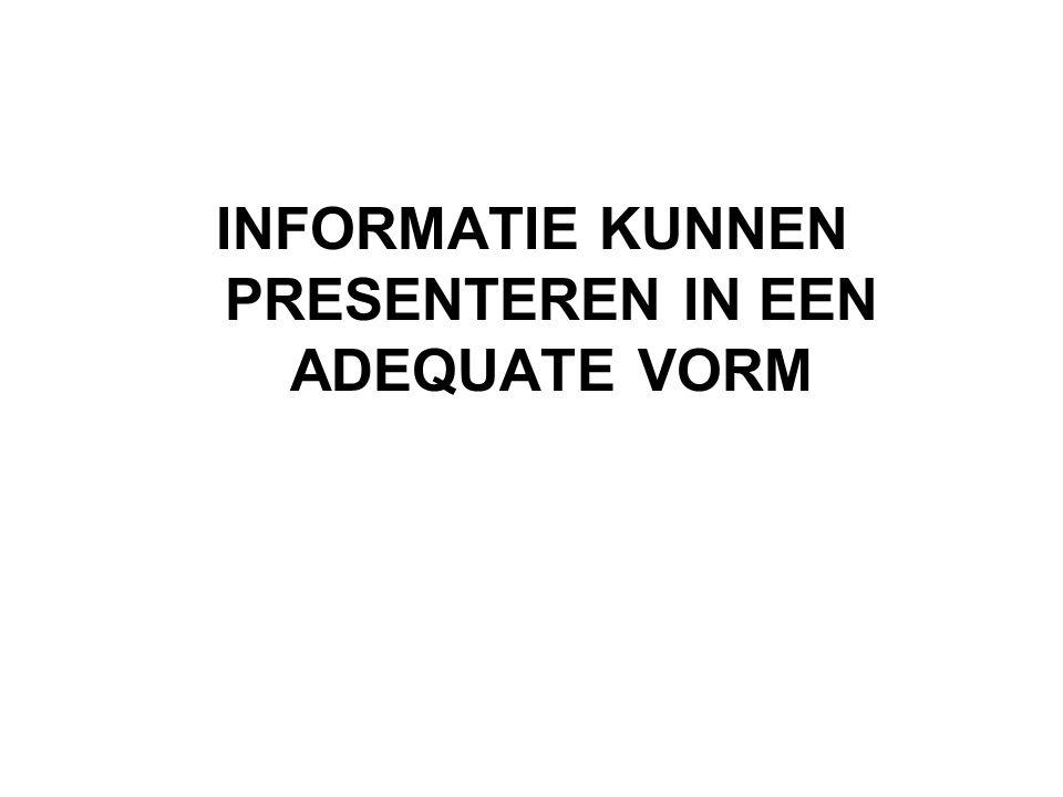 Informatie kunnen presenteren in een adequate vorm Heeft een prima taalbeheersing alumni werkgevers