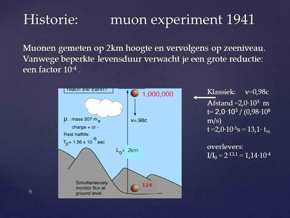 Muonen gemeten op 2km hoogte en vervolgens op zeeniveau.