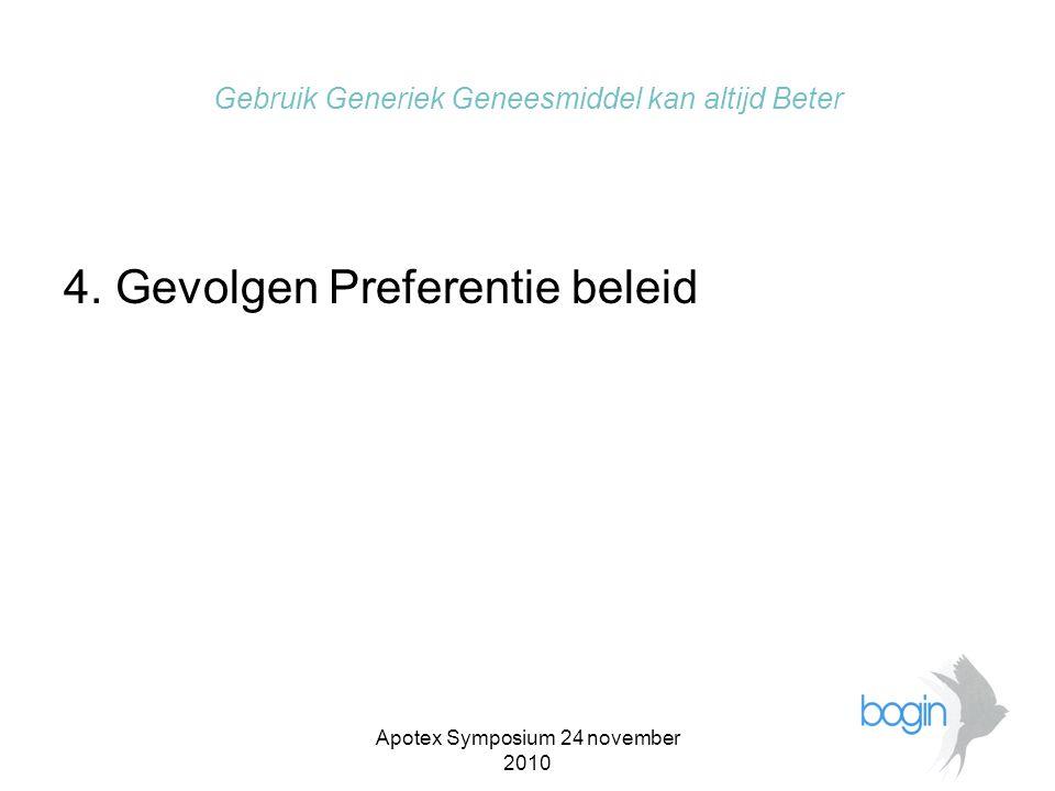 Apotex Symposium 24 november 2010 Gebruik Generiek Geneesmiddel kan altijd Beter •Toename discontinuïteit van levering van geneesmiddelen en dus klachten patiënten over frequent wisselen van verpakking .