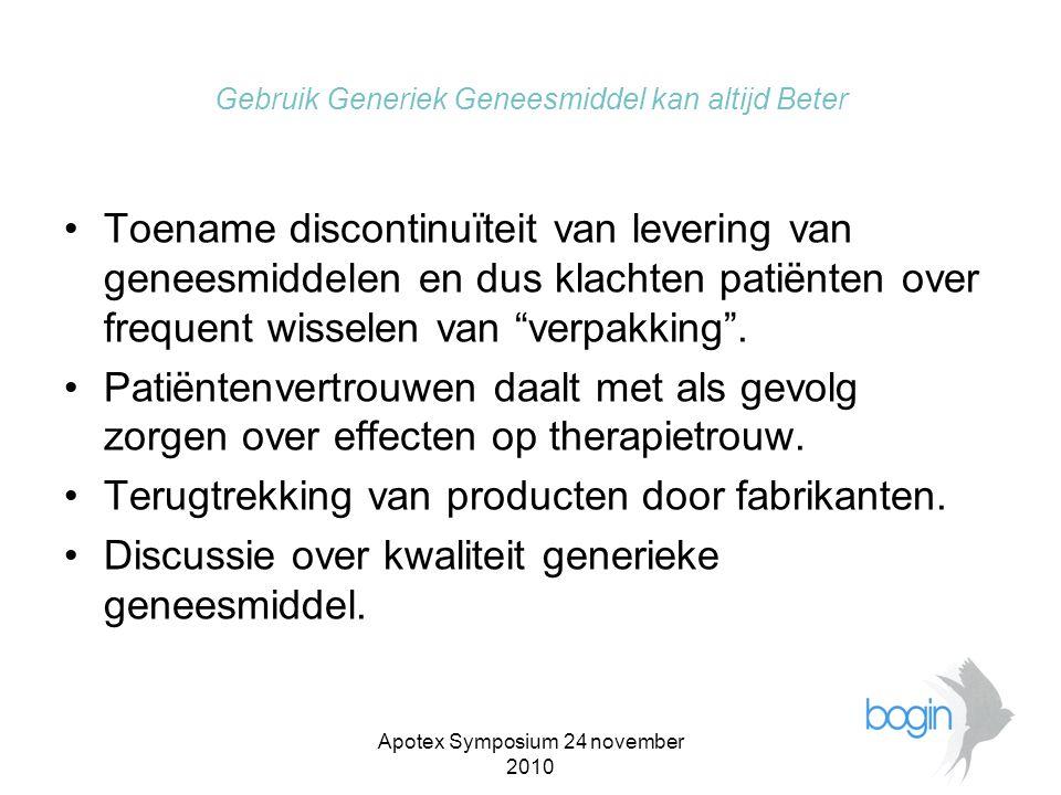 Apotex Symposium 24 november 2010 Gebruik Generiek Geneesmiddel kan altijd Beter •Prijzen generieke geneesmiddelen tot op bodem gedaald(KNMP persbericht).