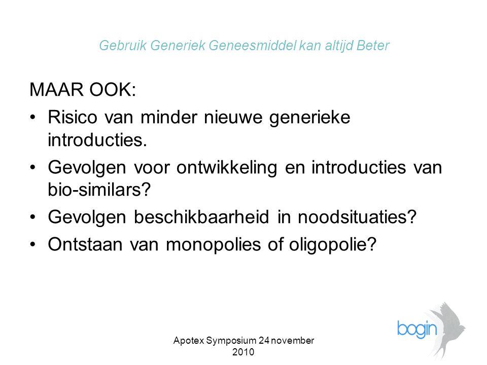 Apotex Symposium 24 november 2010 Gebruik Generiek Geneesmiddel kan altijd Beter 5.