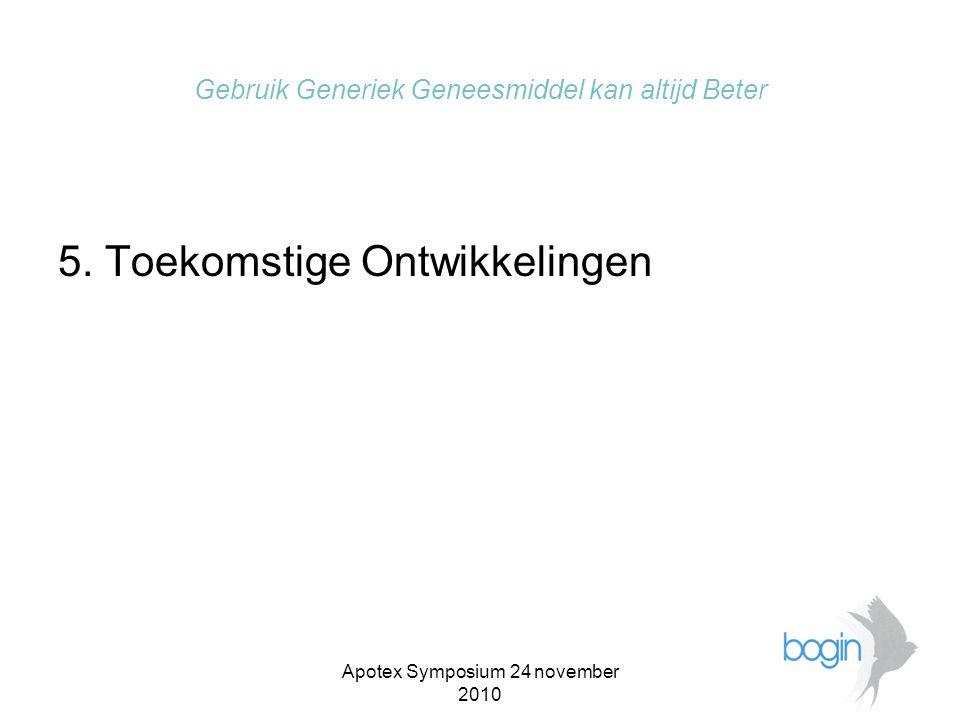 Apotex Symposium 24 november 2010 Gebruik Generiek Geneesmiddel kan altijd Beter •Patiënt begrijpt het allemaal niet meer.