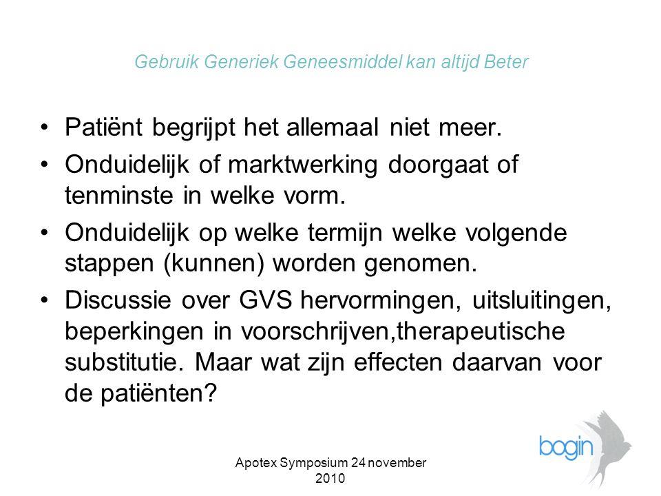 Apotex Symposium 24 november 2010 Gebruik Generiek Geneesmiddel kan altijd Beter •Worden we een geneesmiddelen spotmarkt .