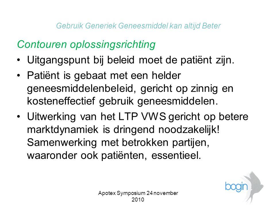 Apotex Symposium 24 november 2010 Gebruik Generiek Geneesmiddel kan altijd Beter Contouren oplossingsrichting •Continuïteit en kwaliteit van aanbod is voorwaarde.
