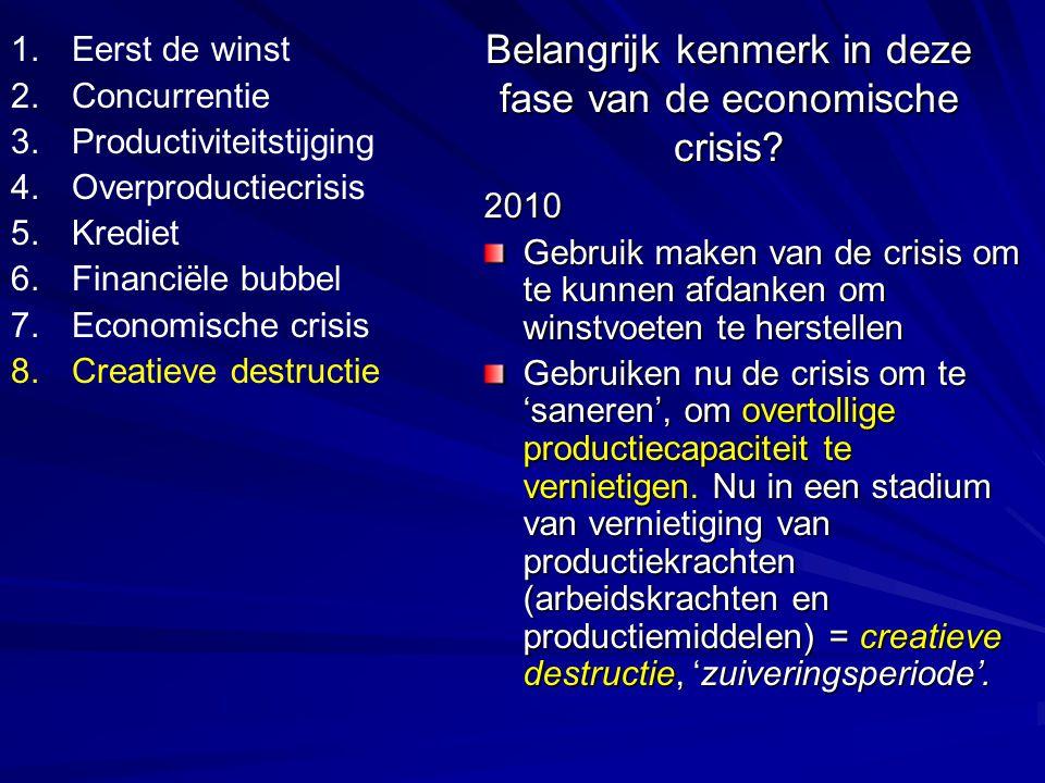 Grootste schuldigen voor overproductiecrisis komen er het sterkste uit en kunnen herbeginnen voor een volgende cyclus die dieper en globaler eindigt dan de voorgaande.