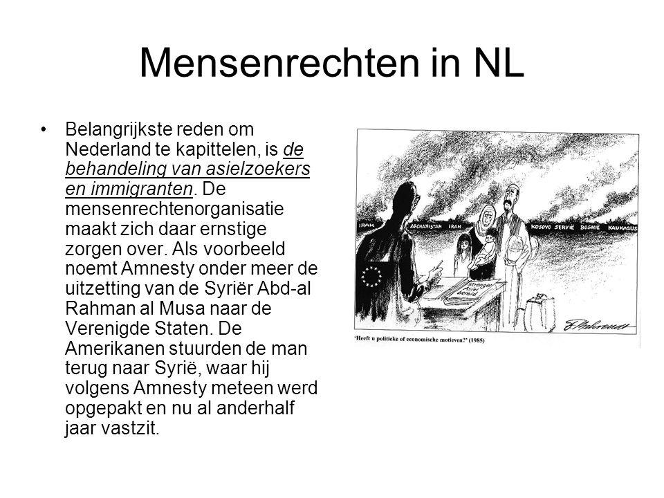 Mensenrechten in NL •Telefoonkaartenfraude En in december leverde Nederland een Egyptische Nederlander uit aan Amerika die vastzat op verdenking van telefoonkaartenfraude, schrijft Amnesty in het jaarboek.