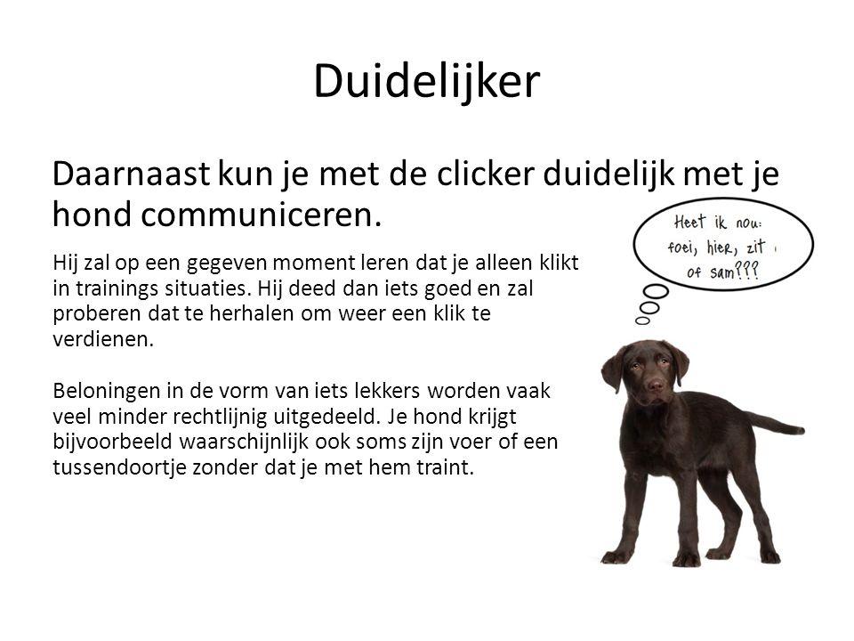 Eerst leren, dan doen Iets waar nieuwe clickertrainers meestal aan moeten wennen is dat je de hond eerst leert wat de bedoeling is, voordat je er een opdracht aan koppelt.