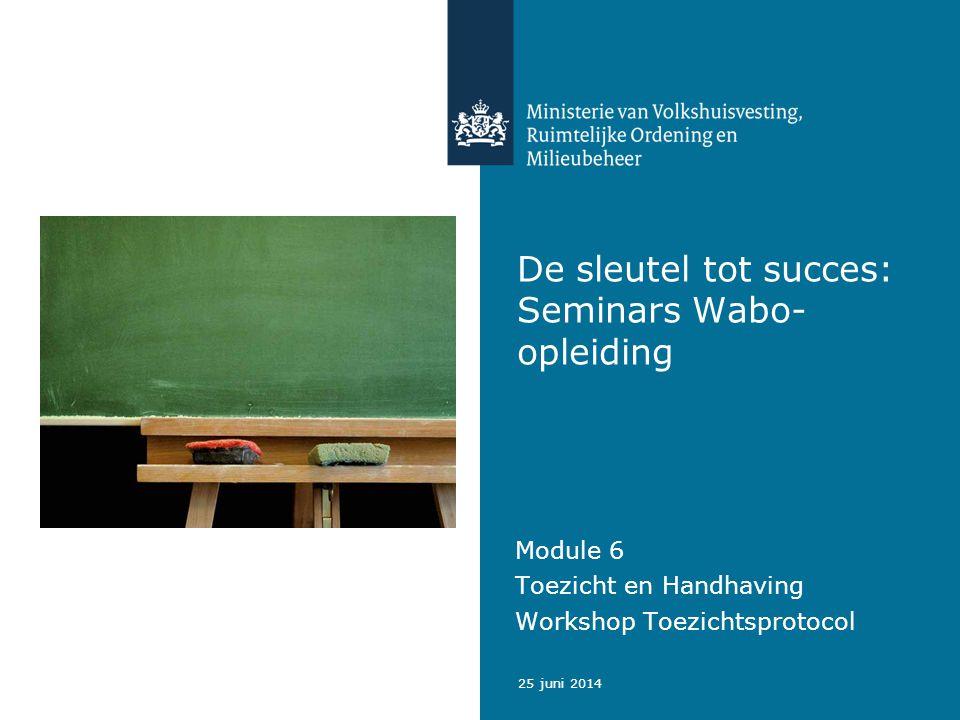 2 Handhaving Wabo in de praktijk, Integraal Toezichtprotocol Met dank aan: Marcel van den Eijnden - VBWTN-projectsecretaris Toezichtprotocol 25 juni 2014 Opleidingstraject Wabo seminars module 6