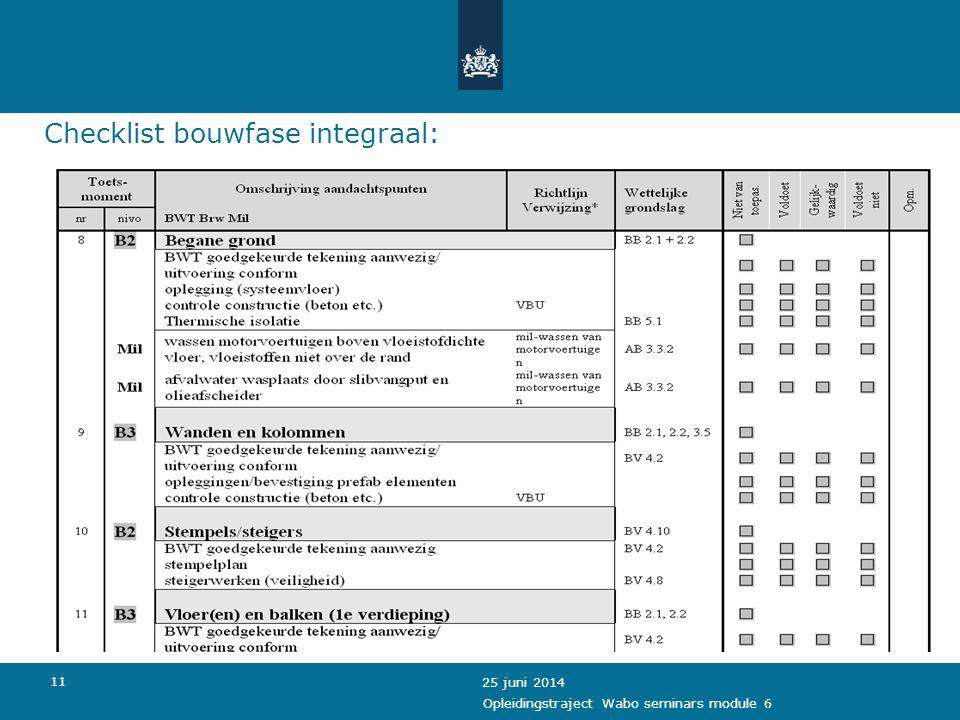12 Bekijken checklist op http://www.omgevingsvergunning.vrom.nl/index.cfm/t/Home page/vid/B9F76268-50FC-2BA0-8681A4BDC709A29C 25 juni 2014 Opleidingstraject Wabo seminars module 6