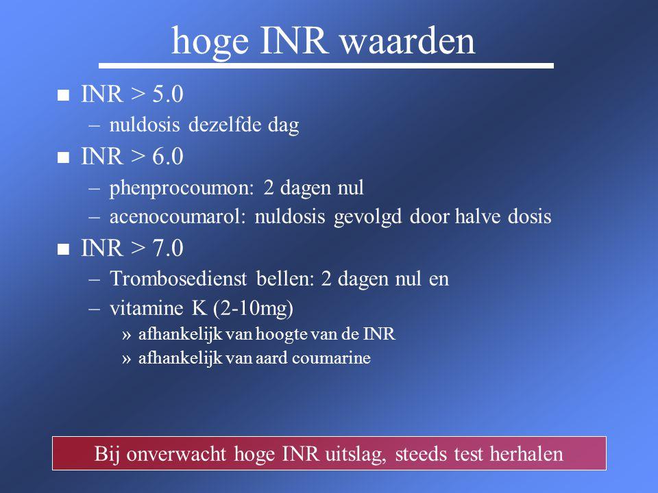 lage INR waarden n n Stootdosis bij een INR < 2.0 n n hoogte van stootdosis is afhankelijk van hoeveel tabletten die u per dag gebruikt.