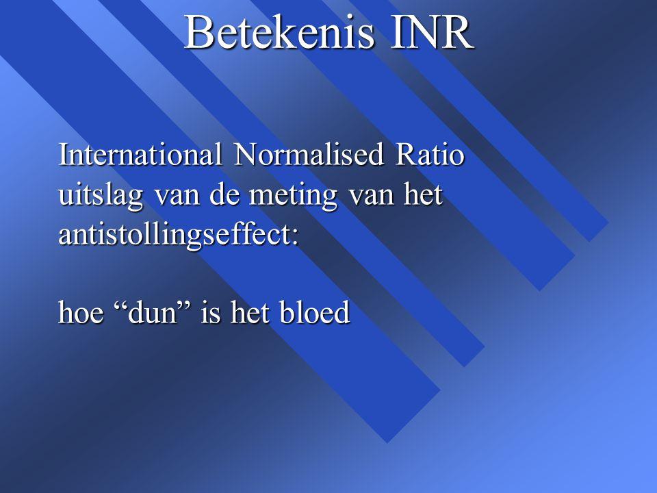 Betekenis INR n Iemand die geen acenocoumarol of fenprocoumon gebruikt, heeft een INR van ongeveer 1.0 n Hoe meer tabletten er worden ingenomen, hoe hoger de INR wordt