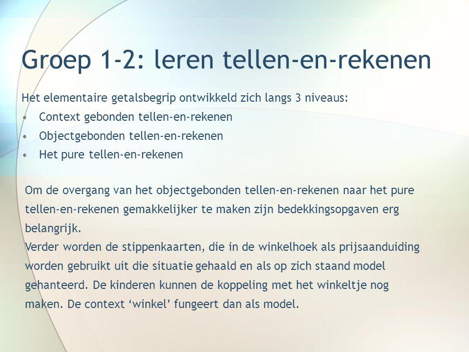 Groep 3(4): rekenen tot 20 Het rekenen tot 20 wordt in twee getalgebieden verdeeld: •Rekenen tot 10 •Rekenen tot 20 In groep 3 zijn de volgende niveaus te onderscheiden: •Tellend rekenen, waar nodig ondersteunt door telmateriaal •Structurerend rekenen m.b.v.