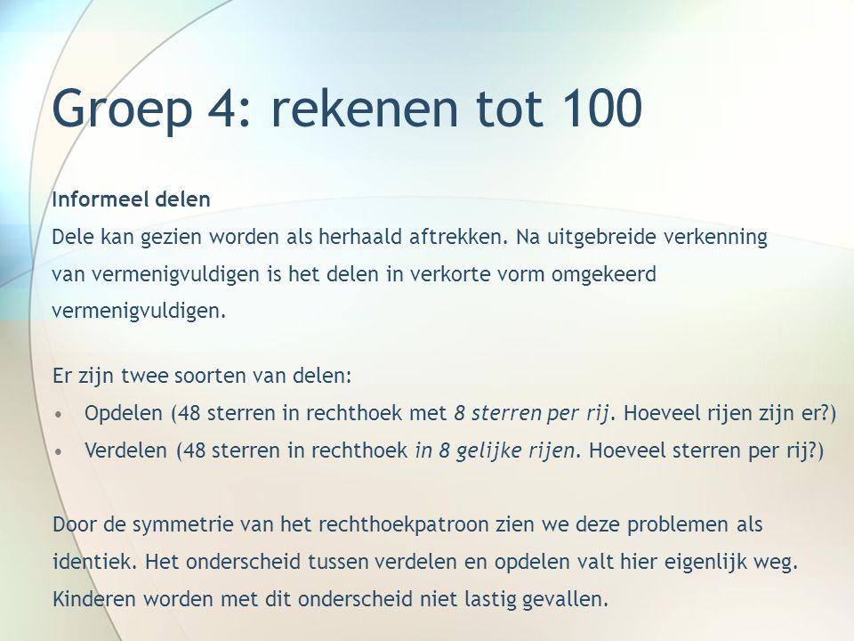 Groep 4: rekenen tot 100 Oefenvormen x en : -Bingo -Tafeldictee -Geheimschriften -Inkleuren vlakken met sommen -Tabelopgaven -Op honderdveld veelvouden van 2, 3 enz.
