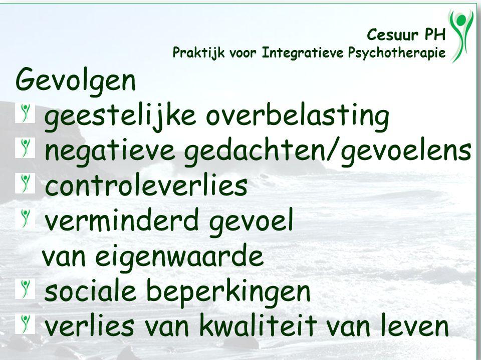 Cesuur PH Praktijk voor Integratieve Psychotherapie Gevolgen geestelijke overbelasting negatieve gedachten/gevoelens controleverlies verminderd gevoel van eigenwaarde sociale beperkingen verlies van kwaliteit van leven