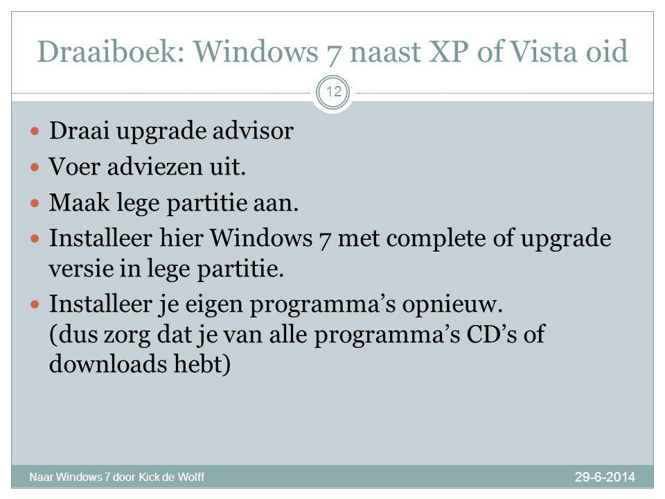 Multiboot 29-6-2014 Naar Windows 7 door Kick de Wolff 13  Multiboot geeft u de keuze welke Windows u wilt opstarten.
