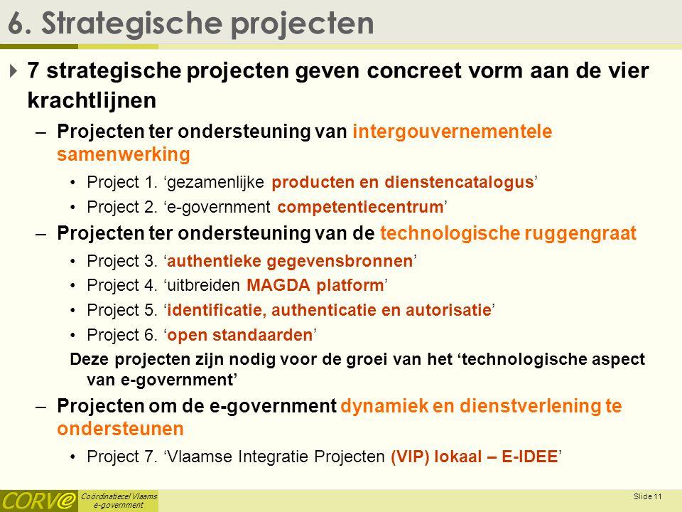 Coördinatiecel Vlaams e-government Slide 12 6.Strategische projecten  6.1.
