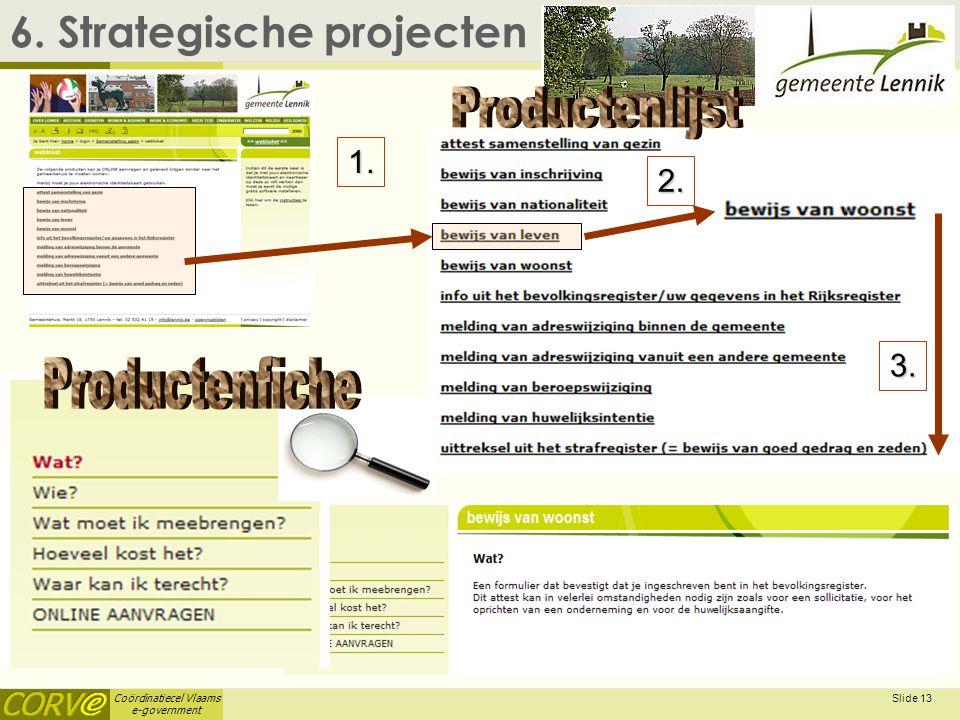Coördinatiecel Vlaams e-government Slide 14 6.Strategische projecten  6.1.
