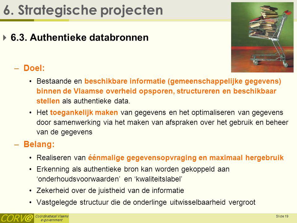 Coördinatiecel Vlaams e-government Slide 20 6.Strategische projecten  6.3.