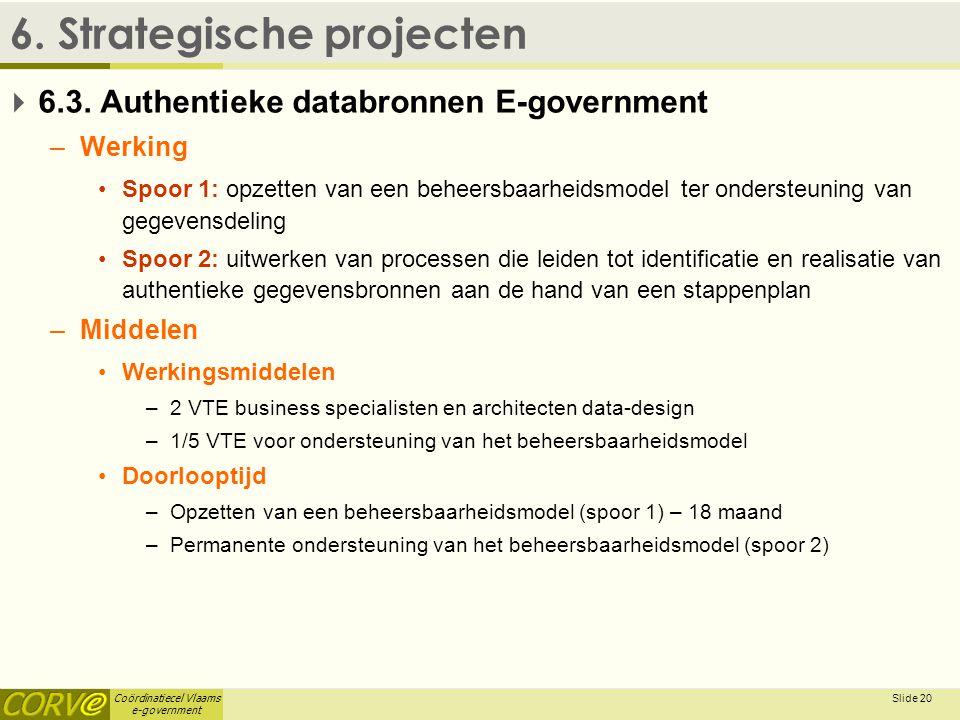 Coördinatiecel Vlaams e-government Slide 21 6.Strategische projecten  6.4.