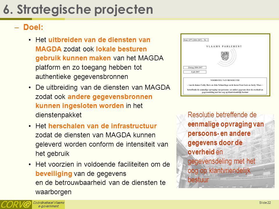 Coördinatiecel Vlaams e-government Slide 23 6.Strategische projecten  6.4.