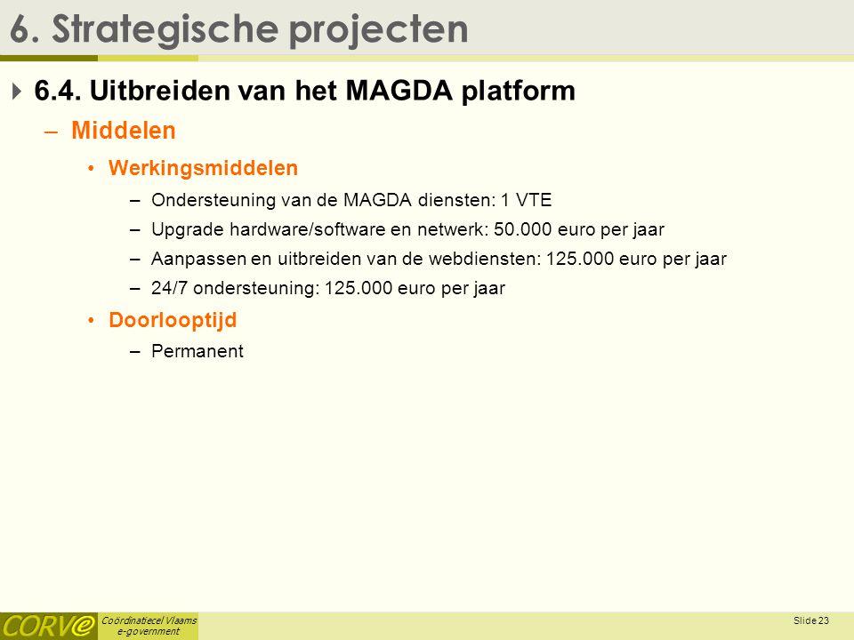 Coördinatiecel Vlaams e-government Slide 24 6.Strategische projecten  6.5.