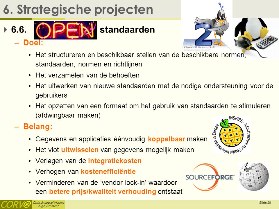Coördinatiecel Vlaams e-government Slide 27 6.Strategische projecten  6.6.