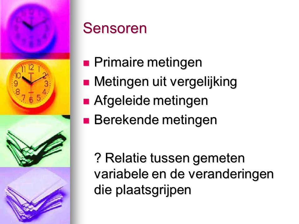 Sensoren in het proces  In-line,  on-line  at-line  off-line  In line en on line meest geschikt omwille van hun vlugge respons en accurate positie