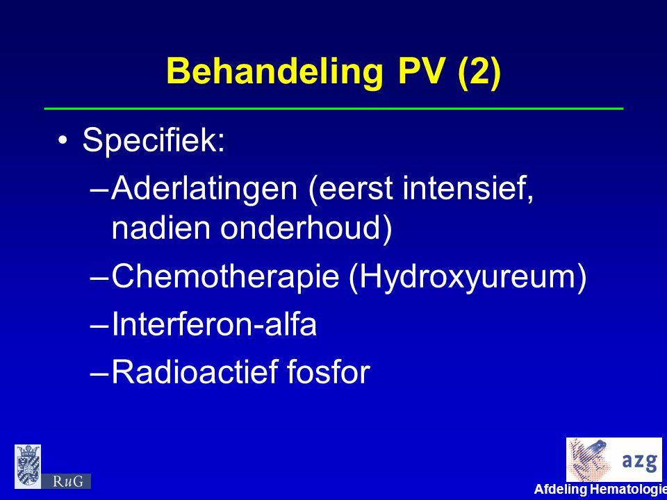 Afdeling Hematologie umcg Polycytemia vera Conclusie •Niet elke polycytemie is een echte PV •Bij diagnose PV ook screening op hart- en vaatziekten nodig, gevolgd door actieve preventie •Therapie met Ascal, aderlatingen en zo nodig hydroxyureum of interferon •Jarenlange goede prognose