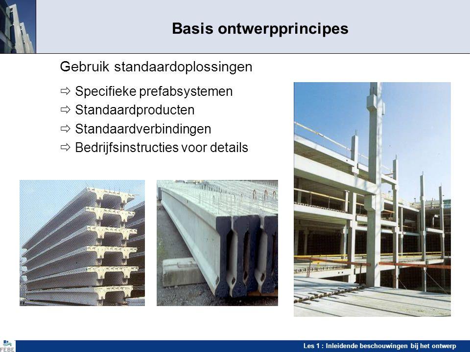 Les 1 : Inleidende beschouwingen bij het ontwerp Standaardoplossingen Standaardisatiemogelijkheden  Rekenprogramma's  Betonsterkte  Wapeningen  Verbindingen  Hulpstukken  Arbeidsprocedures  enz.