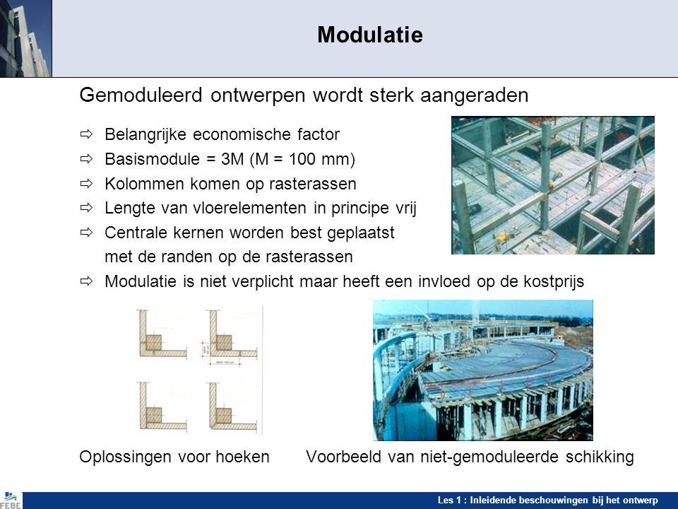 Les 1 : Inleidende beschouwingen bij het ontwerp Standardisatie Gestandaardiseerde prefabelementen kolommen dakbalken vloerbalkenvloeren Holle vloerelementen op de stockeerplaats