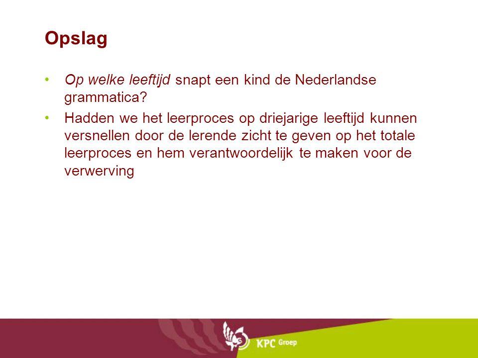Opslag •Op welke leeftijd snapt een kind de Nederlandse grammatica.