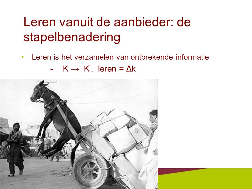Leren vanuit de aanbieder: de stapelbenadering •Leren is het verzamelen van ontbrekende informatie -K → K '.