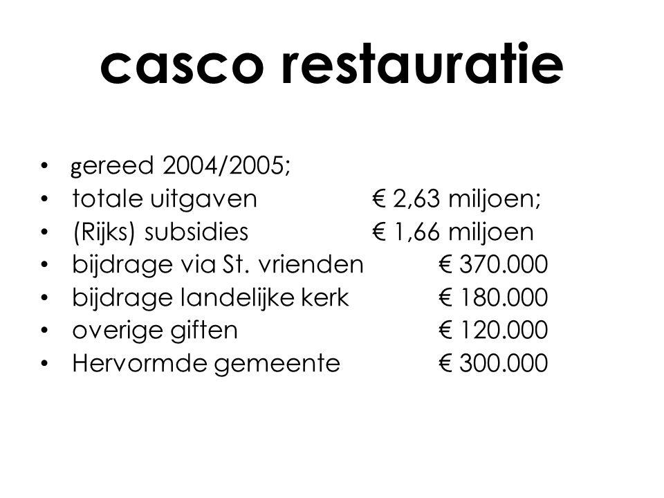regulier onderhoud meerjarenonderhoudsplannen: • 1 ste plan 2006 - 2011; -begroot € 22.000 per jaar; -uitgegeven € 11.400 per jaar; -na subsidie en bijdragen St.