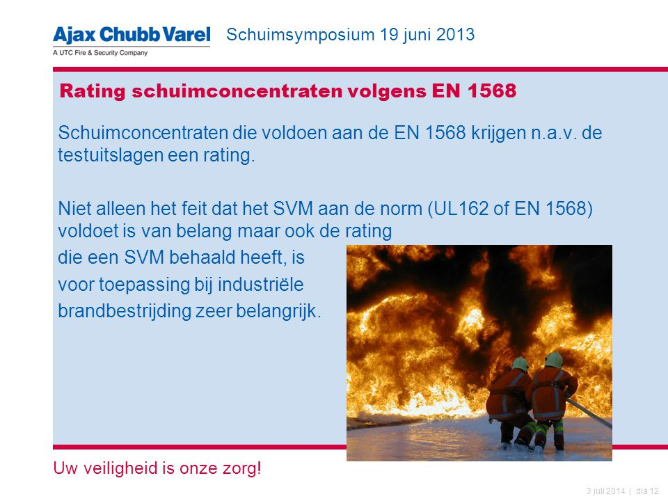 Schuimsymposium 19 juni 2013 Uw veiligheid is onze zorg.