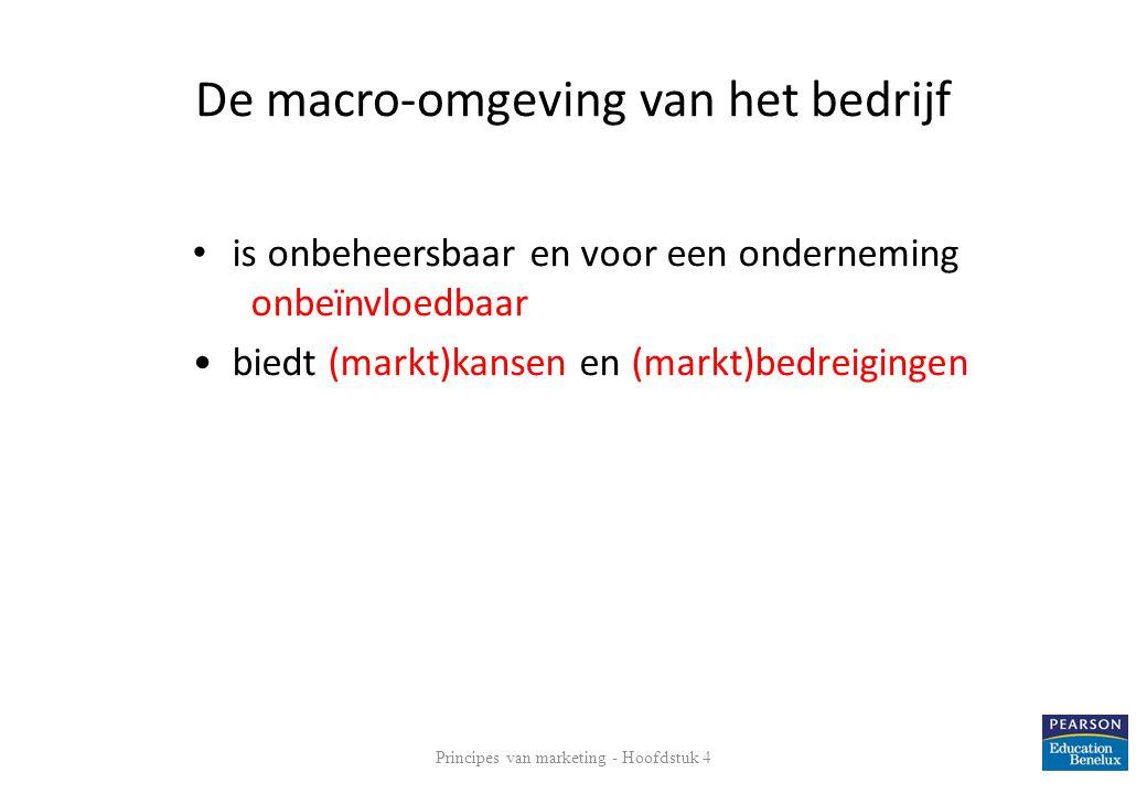 Principes van marketing - Hoofdstuk 4 13 De macro-omgeving van het bedrijf DESTEP: demografische, ecologische, sociale, technologische, economische en politieke macro- omgevingsfactoren