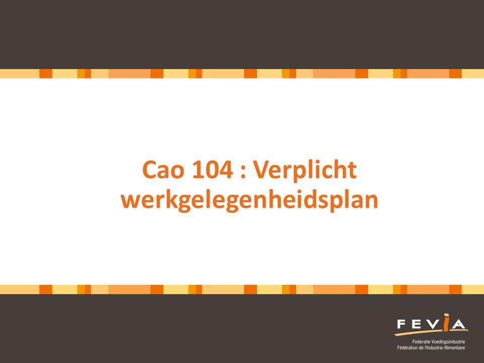 2 Cao 104 : werkgelegenheidsplan • Context • Wettelijke basis • Enkele cijfers • Wie/wat/wanneer • Model • Visie Fevia