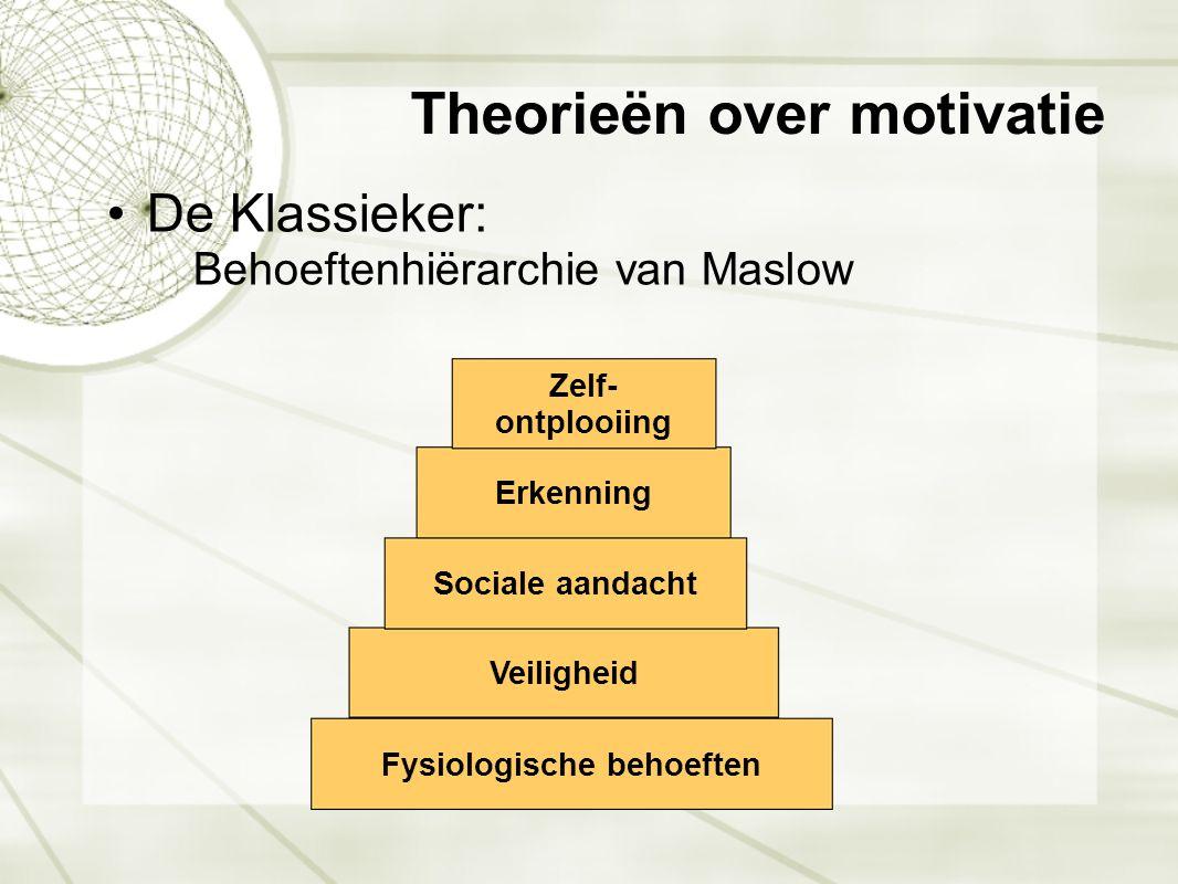 Motivatie vereist tevredenheid Tevredenheid nastreven is cruciaal alvorens je aan motivatie kan beginnen werken Fysiologische behoeften Veiligheid Sociale aandacht Erkenning Zelf- ontplooiing Sociale aspecten Materiële aspecten