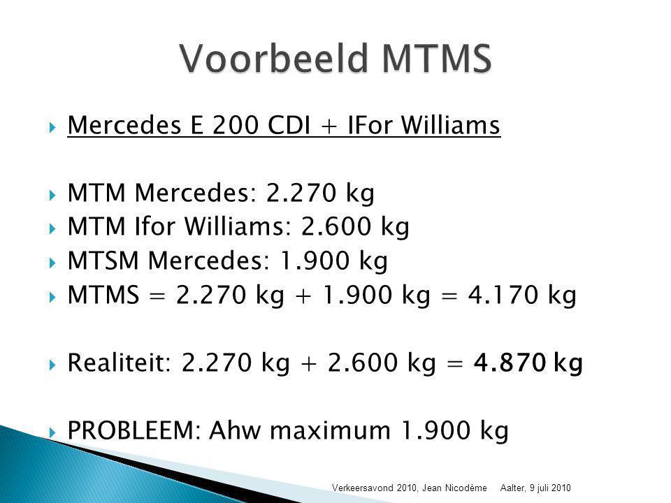  Personenauto's, auto's voor dubbel gebruik met trekhaak voor aanhangwagen MTM > 750 kg: 1 ste keer bij ingebruikname en dan elk jaar  Personenauto's, auto's voor dubbel gebruik met trekhaak voor aanhangwagen MTM ≤ 750 kg: 1 ste keer bij ingebruikname en dan elk jaar na 4 jaar ouderdom auto  Vóór de inschrijving van voertuig categorie M2, M3, N2, N3, O2, O3 en O4 en dan elk jaar  Voertuig categorie O1 (aanhangwagen MTM ≤ 750 kg) zijn vrijgesteld van keuring  Vignet van keuring (binnenzijde voorruit, nabijheid nummerplaat bij aanhangwagens) Verkeersavond 2010, Jean NicodèmeAalter, 9 juli 2010