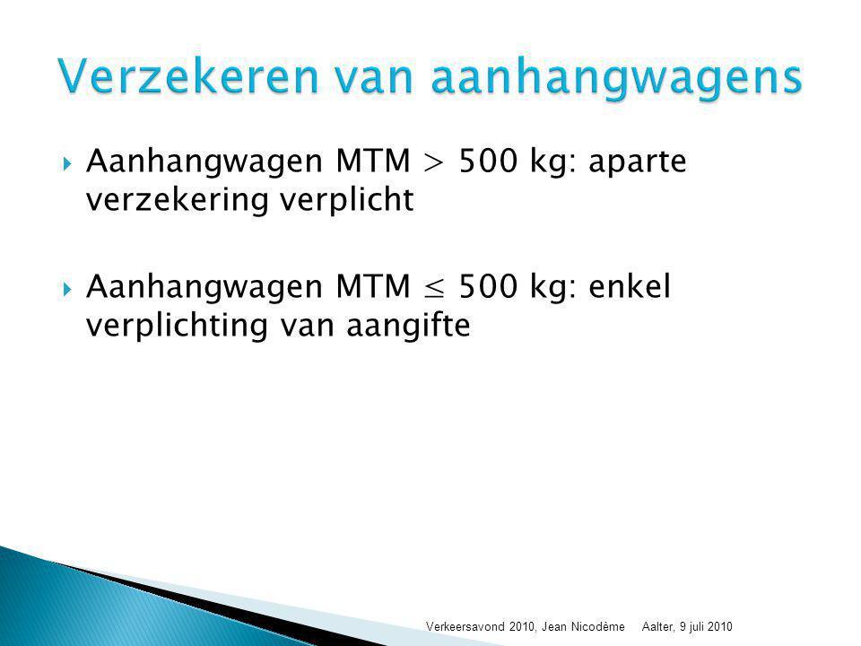 Voertuig MTM ≤ 3,5 T + Aanhangwagen MTM ≤ 750 kg: rijbewijs B  Uitzondering: MTMS ≤ 3,5 T en MTM aanhangwagen ≤ ledige massa trekkend voertuig → MTM aanhangwagen mag > 750 kg voor rijbewijs B  MTMS sleep hierboven > 3,5 T: rijbewijs B + E  Voertuig MTM ≤ 3,5 T + Aanhangwagen MTM > 750 kg: rijbewijs B + E  Rijbewijs ouder dan 01/01/1989, B + E ok  Rijbewijs ouder dan 01/01/1989 + medische keuring, C + E ok Verkeersavond 2010, Jean NicodèmeAalter, 9 juli 2010