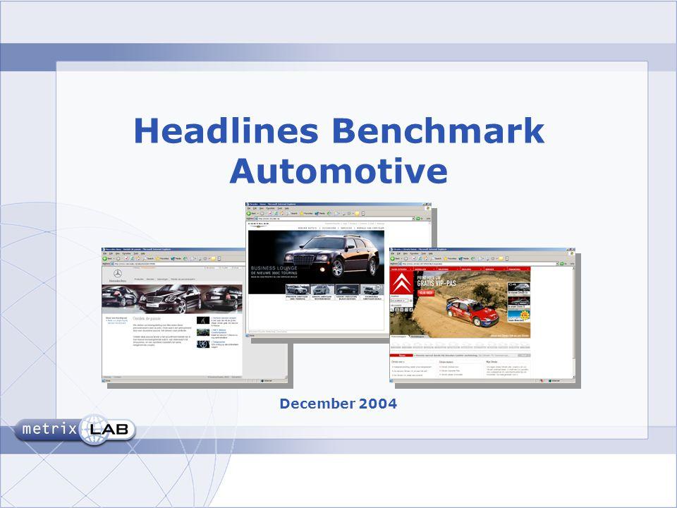sheet 2 Overall Oordeel Benchmark Automotive:  24 websites (+/- > 50.000 nw auto's)  N = 1.800 (uit MetrixLab's OpinionBar panel, NL)  December 2004  XSment (software) •1 opdracht (Stel u bent geinteresseerd in een [model].