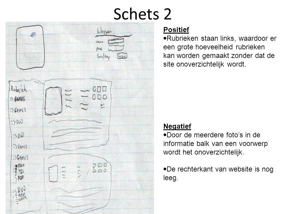 Schets 3 Positief  De rechterkant van de website is niet meer leeg
